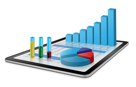 Business growth chart on digital tablet