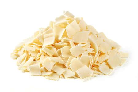 Parmesan flakes on white background 免版税图像
