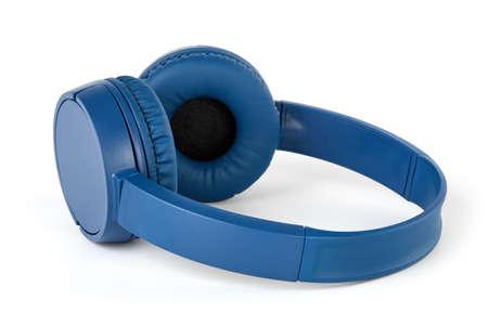 Wireless blue headphones on white background