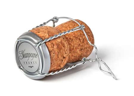 Champagne cork on white background 免版税图像
