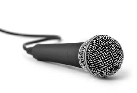 Metal dark gray microphone isolated on white 免版税图像