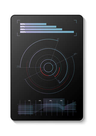 Futuristic diagrams projected on a digital tablet