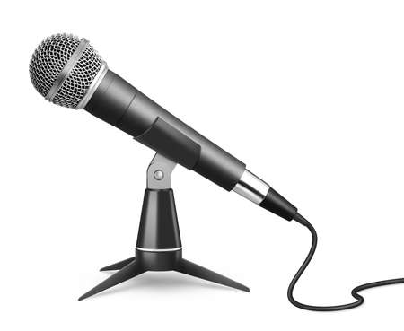 Microphone on stand isolated on white 免版税图像