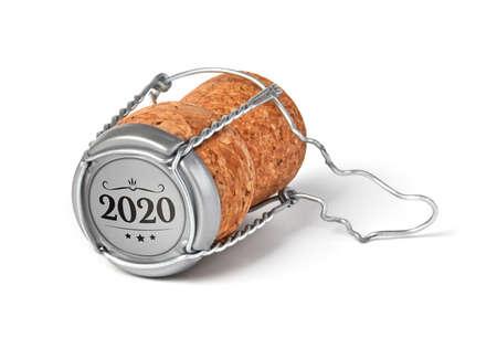 2020 champagne cork on white background