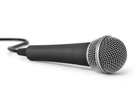 Metal dark gray microphone isolated