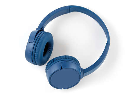 Modern headphones on white background 免版税图像