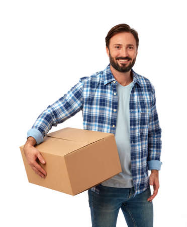Delivery guy with cardboard box