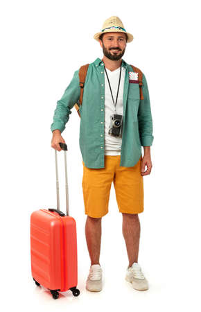 Cheerful man with suitcase on white