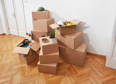 Moving house concept in room Stock Photo