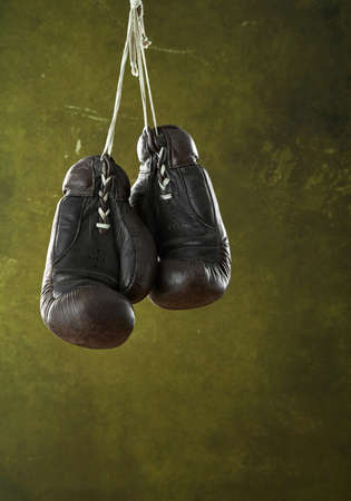Vintage boxing gloves on a wall