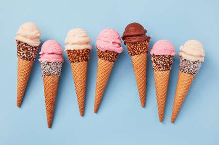 Ice cream cones on blue background