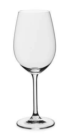 White wine empty glass on white background