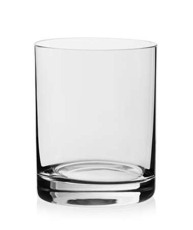 Whisky empty glass on white background