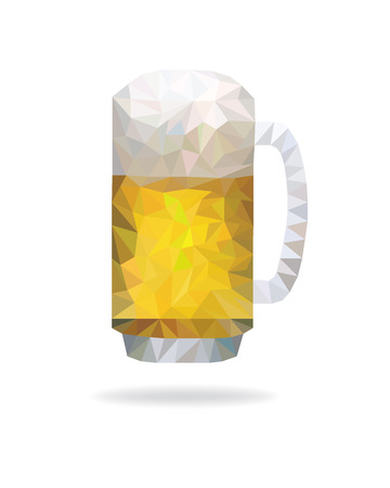 Modern polygon glass of beer.
