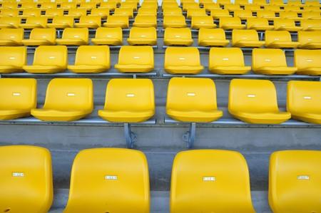 yellow seat in stadium Stock Photo