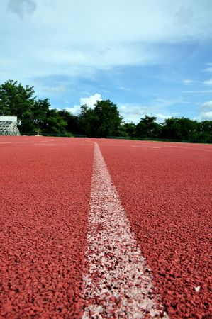 Running lane with blue sky