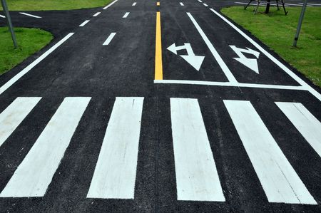 zebra way on the road surface