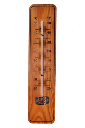 thermometer on wooden frame