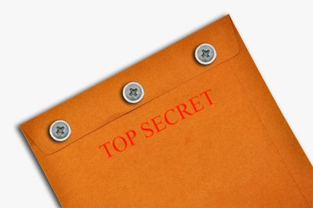 Top secret envelop as white background isolate photo