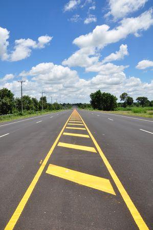 double lane: Asphalt road with sky