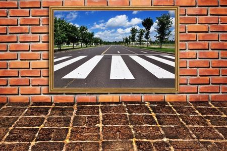brickwall and old floor pattern as zebra walk way photo Stock Photo - 7789149