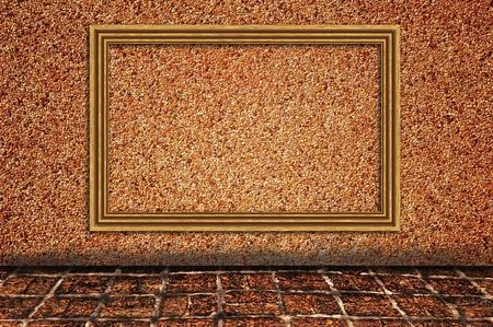 Sand wall background with wooden photo frame Stock Photo - 7789161