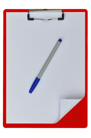 medical school: Red color writing boards with blue pen or support boards for cutting paper