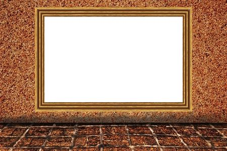 Sand wall background as brown color wooden photo frame Stock Photo - 7789184