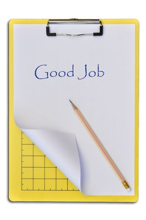Yellow writing boards with pencil or support boards for cutting paper photo