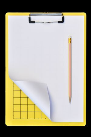 Yellow writing boards with pencil or support boards for cutting paper  black background photo