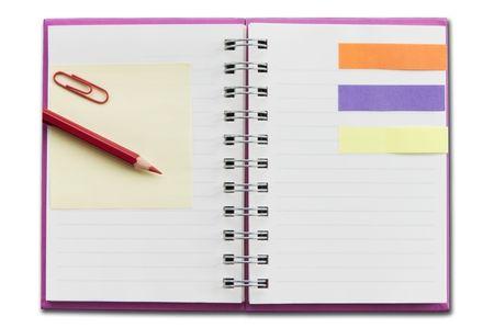 Mini lege notebook als witte isoleren achtergrond Stockfoto