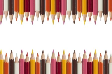high schools: Colorful pencil as white isolate background Stock Photo