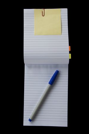 Small notebook open two face as black background Stock Photo - 8050762