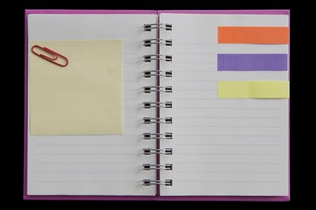 post it and clip on mini notebook two page open Stock Photo - 8050770