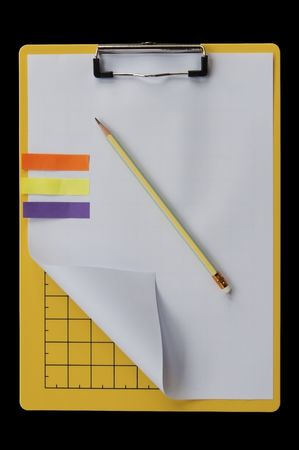Paper and pencil on writing board photo