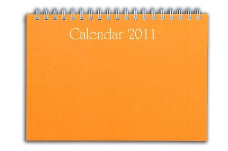 orange color calendar as white isolate background photo