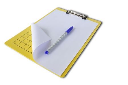 Clipboard with Papers and blue pen on White isolate Background photo