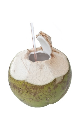 fresh coconut as white isolate background