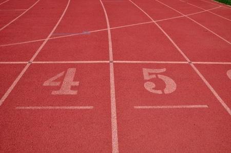 Red color running lane photo
