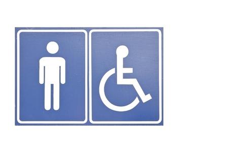 men toilet symbol as white isolate background photo