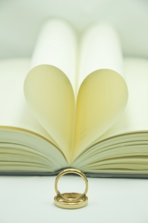 ring and paper heart background photo
