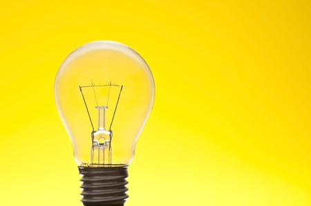lamp as yellow background Stock Photo