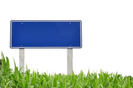 traffic sign and grass as isolate background