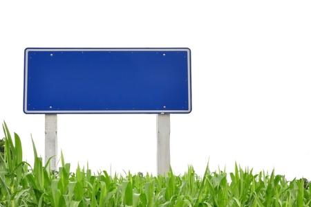 verkeersbord en gras als achtergrond isoleren
