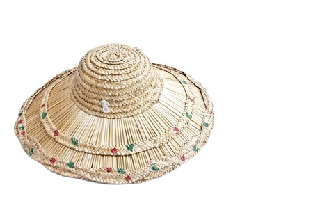 Hand made woven hat as white isolate background photo