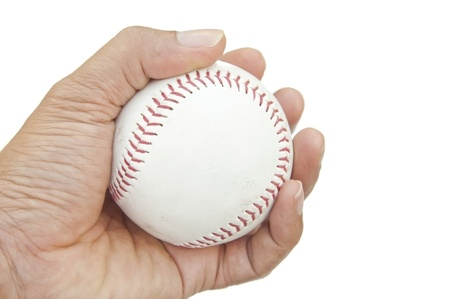 base ball on hand as white isolate background Stock Photo - 9132189