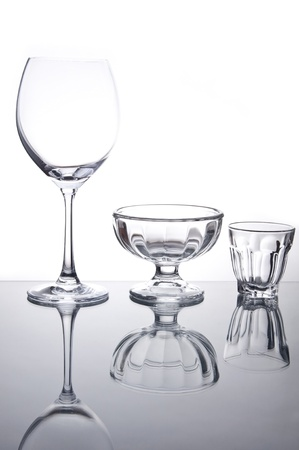 Empty wine glass and cocktail glass as white isolate background