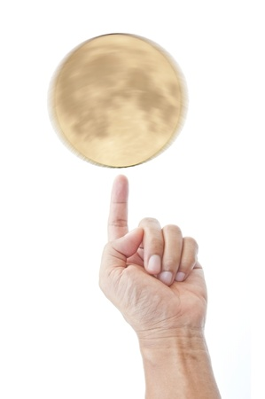 Moon and hand as white background Stock Photo - 9533023