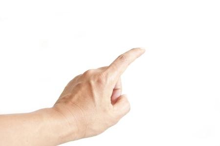 dictatorial: Puntatore dito indice uomo come sfondo bianco isolata