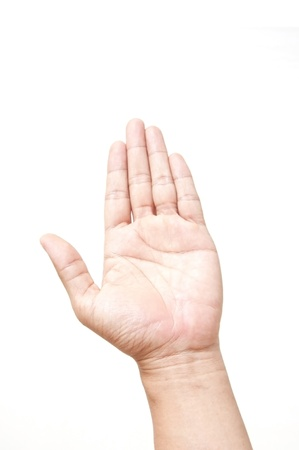 man hand up as white isolate background Stock Photo